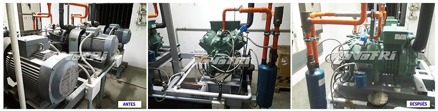 Transformación de instalación frigorífica para mejorar su eficiencia energética. Foto-antes-y-despues-proyecto-realizado